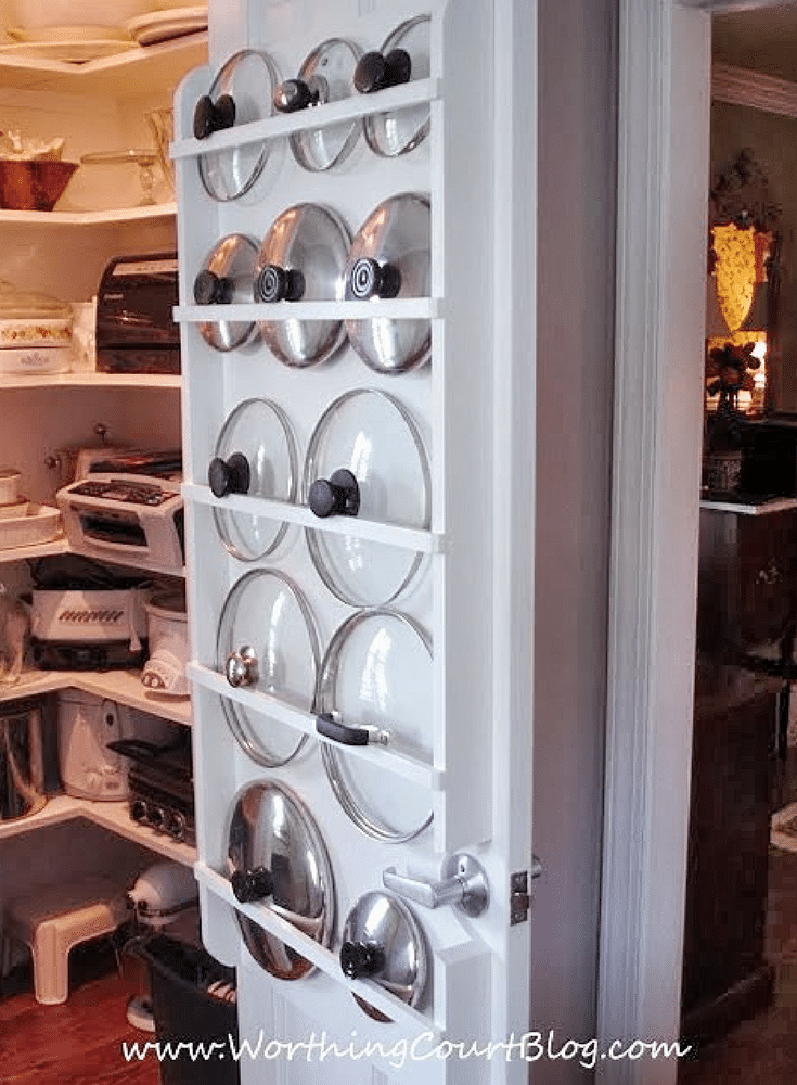 Lid storage on the back of a pantry door