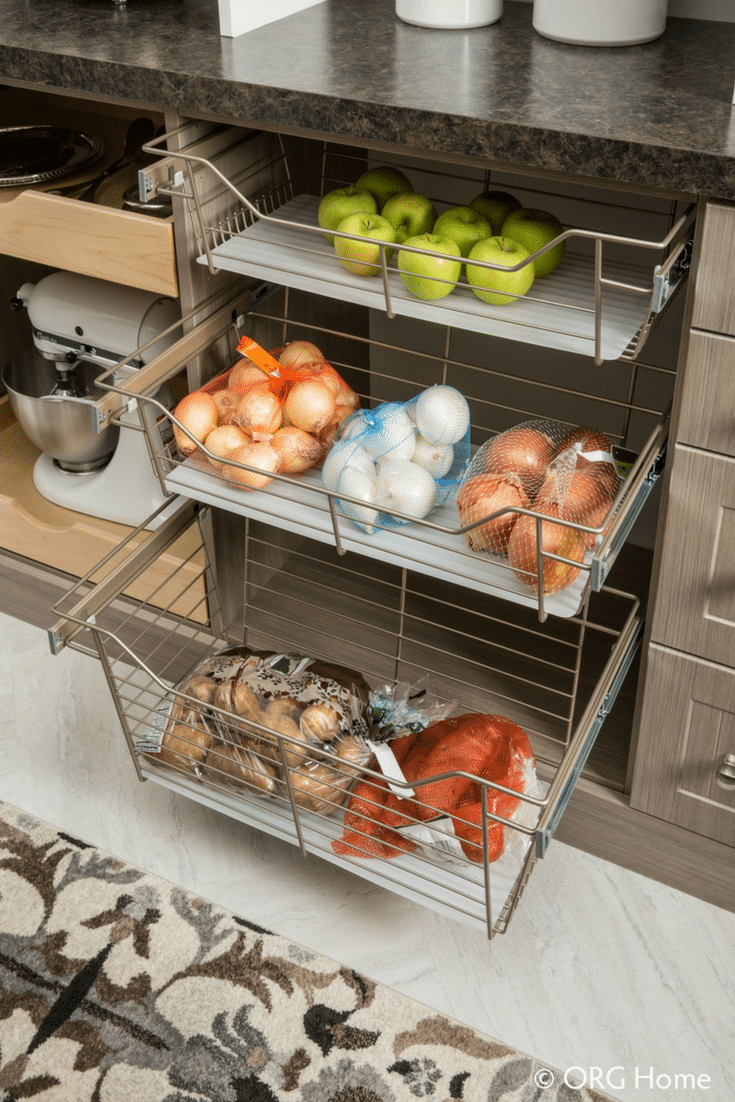 Slide out chrome baskets for an organized luxury pantry Dublin Ohio - Innovate Home Org