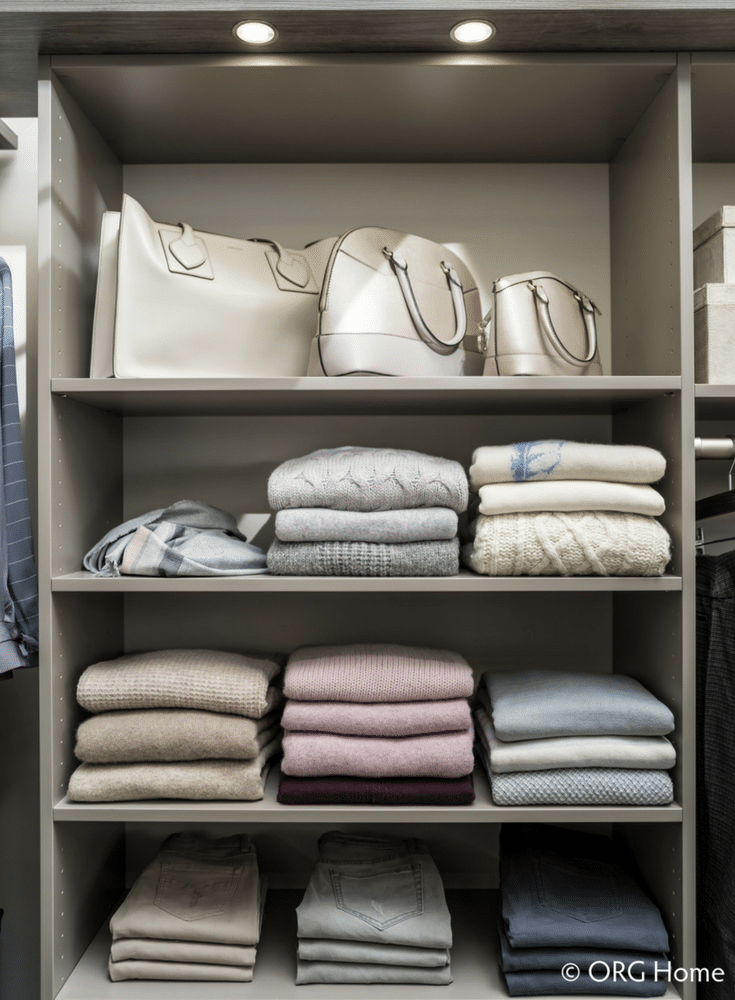 14 inch deeep shelves are deep enough so sweaters and sweatshirts and pants don't hang off the edge | Innovate Home Org Columbus Ohio