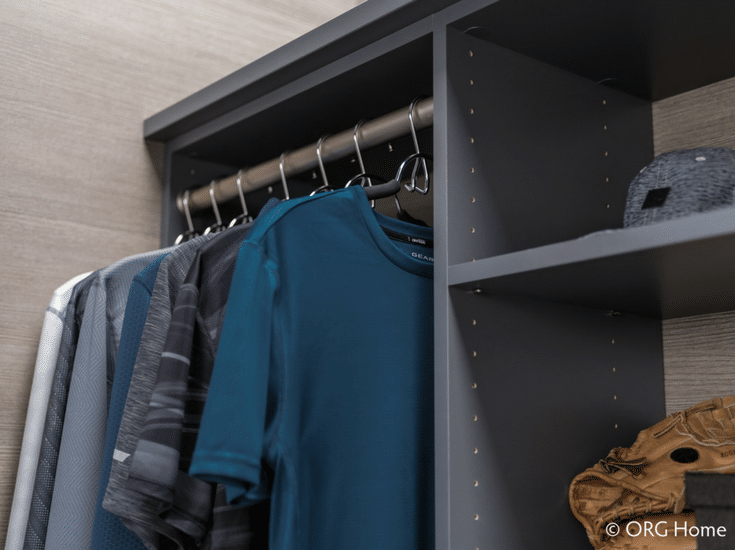 Adjustable closet shelving with holes in support panels so the shelves can be moved up and down | Innovate Home Org Columbus Ohio
