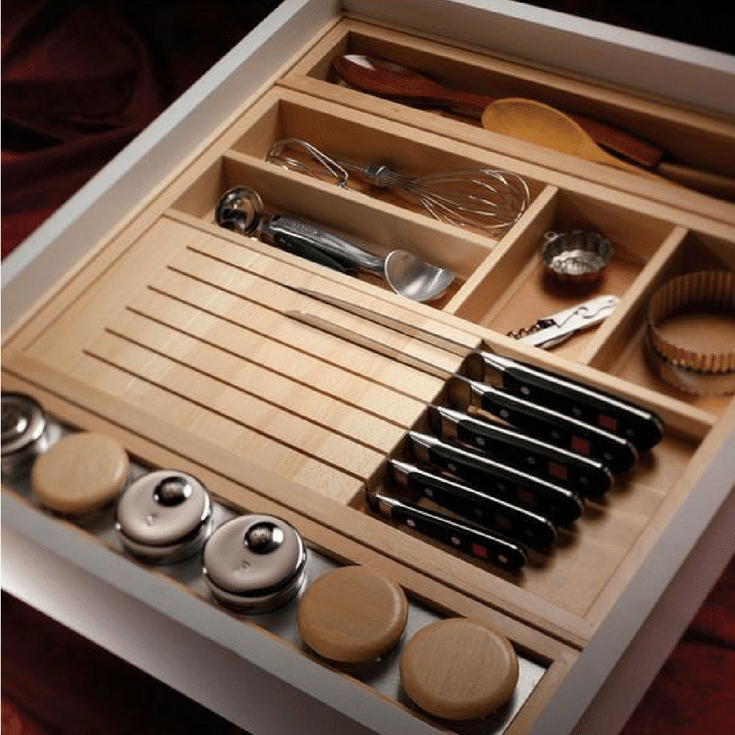 Cutlery tray insert for knives in an upscale kitchen | Innovate Home Org Columbus Ohio #Cutlery #CutleryInsert #Kitchen #Pantry