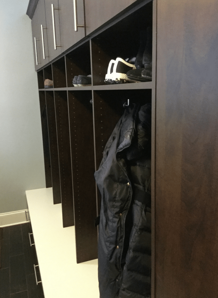 Deep Open Locker Mudroom | Innovate Home Org | Dublin, Ohio | #OpenCabinets # MudroomStorage #Storage