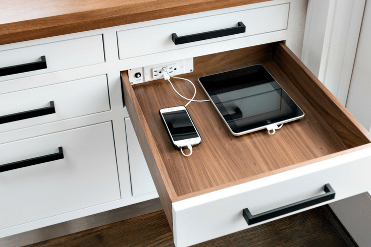Docking drawer charging staion in a custom closet | Innovate Home Org Columbus Ohio #ChargingStation #DrawerCharge #DockingDrawer