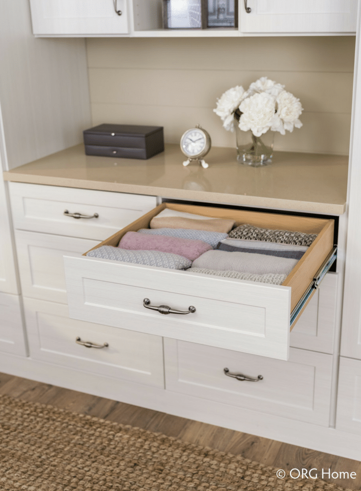 Full extension pull out dovetail drawer boxes in a custom Columbus closet   Innovate Home Org #Drawers #DovetailDrawers #ClosetDrawers #CustomCloset