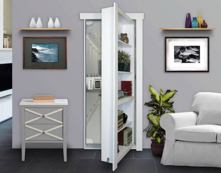 Hidden door with shelving leading to a safe room | Innovate Home Org Columbus Ohio #HiddenDoor #MurphyDoor #SafeRoom #HiddenRoom
