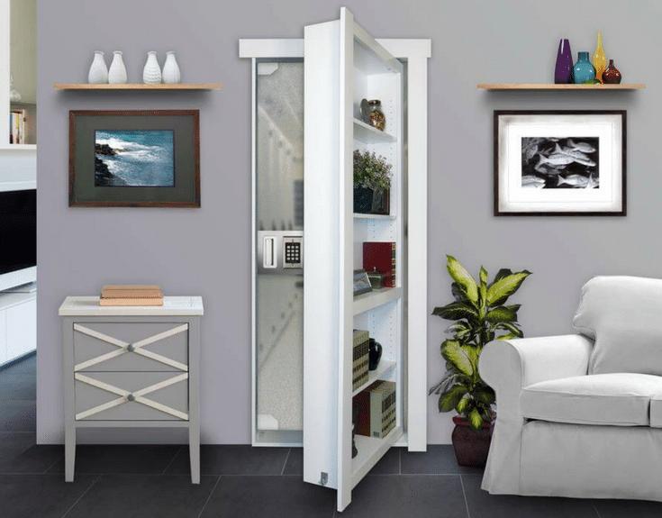 Hidden door with shelving leading to a safe room | Innovate Home Org Columbus Ohio #HiddenDoor #MurphyDoor #SafeRoom #HiddenRoom