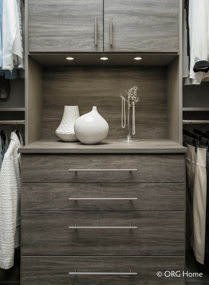 LED lighting under a cabinet in a custom Columbus Ohio closet   Innovate Home Org #LED #LEDLighting #ClosetLighting #ColumbusCloset
