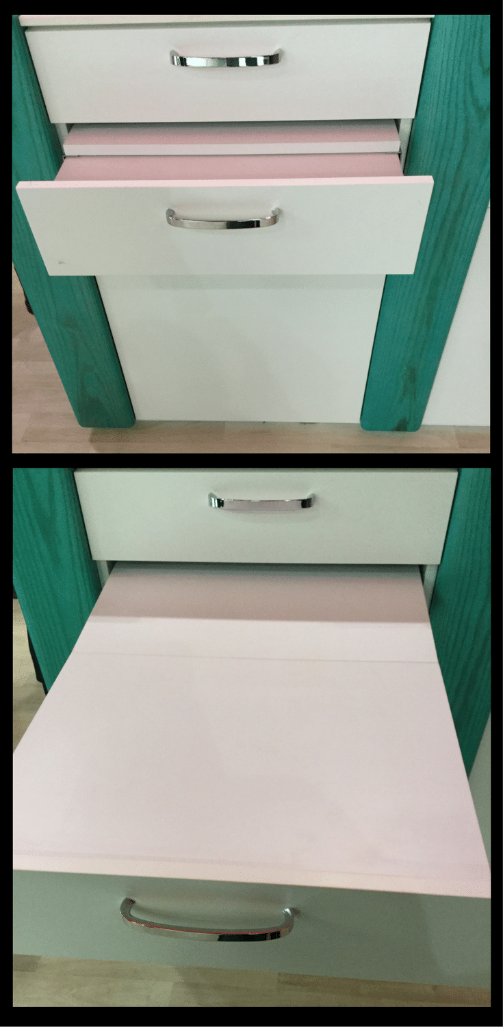 Pop out work surface hidden inside a drawer | Innovate Home Org Columbus Ohio #Drawer #DrawerInserts #WorkSurface