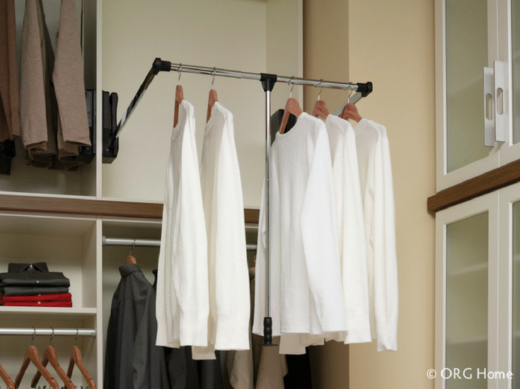 Pull down closet rod for a wheelchair accessible closet | Innovate Home Org Columbus Ohio