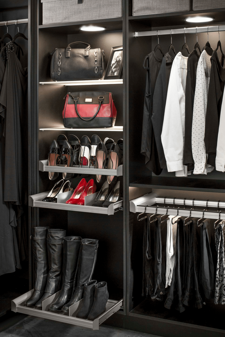 Slide out shoes and boot shelving in a custom closet   Innovate Home Org Columbus Ohio #ShoeShelves #ShoeShelving #BootShelving #Boots