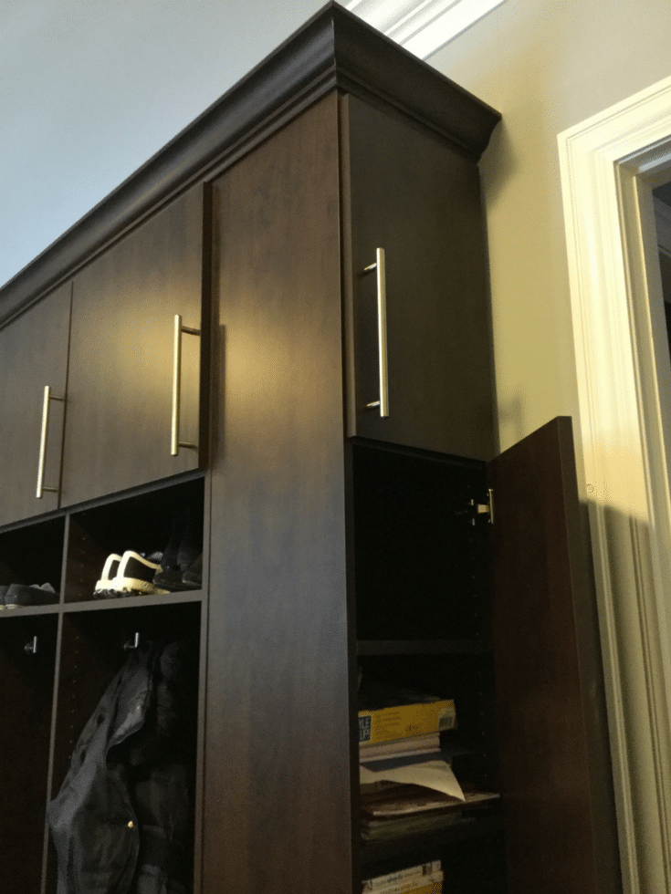 Thin Storage Cabinet | Innovate Home Org | New Albany | #StorageCabinets #Mudroom #ThinCabinets