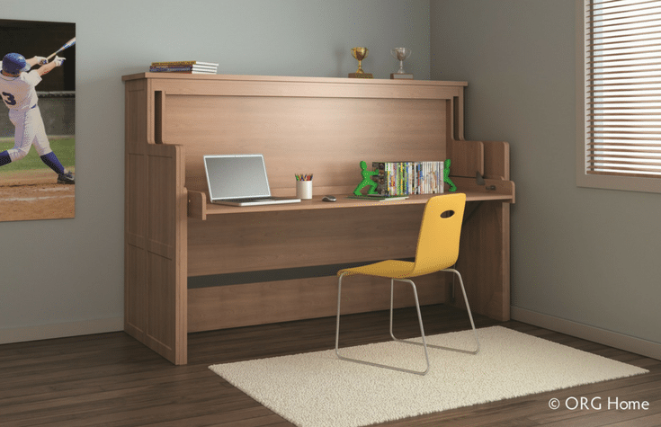 Horizontal Murphy Bed In A Kids Room With Fold Down Desk