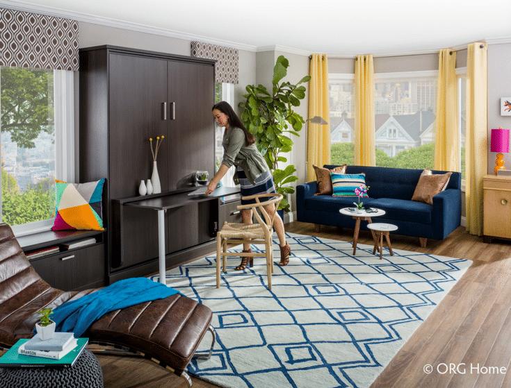 Multi Purpose Murphy Bed Work Surface | Innovate Home Org | Upper Arlington | #LoftLiving #MurphyBed #WorkSpace