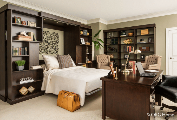 Murphy bed in a library with bookshelves which move side to side | Innovate Home Org Columbus Ohio