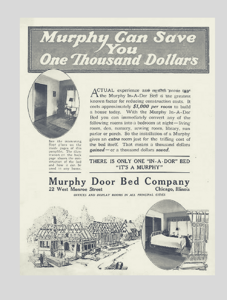 Murphy wall bed ad from the 1900s about saving money | Innovate Home Org Columbus Ohio
