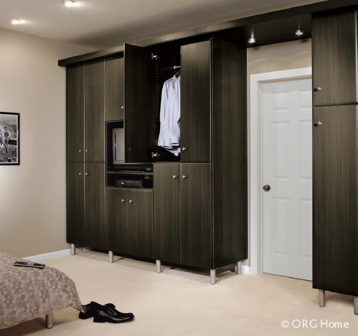 Wardrobe closet in a loft apartment | Innovate Home Org Columbus Ohio