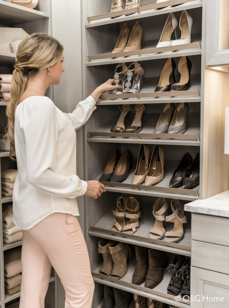 raised shelving for shoe storage | Innovate Home Org | #DublinOhio #ShoeStorage #Shelving