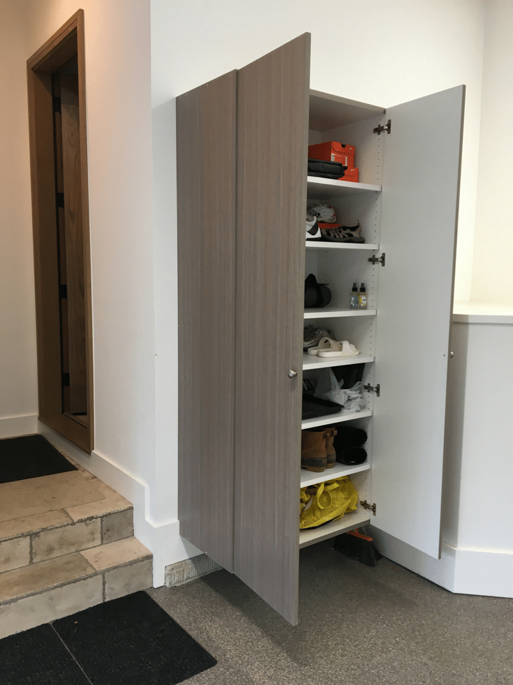 Shoe Storage Cabinets | Innovate Home Org | DublinGarages #UpperArlington #ShoeStorage #GarageShelving