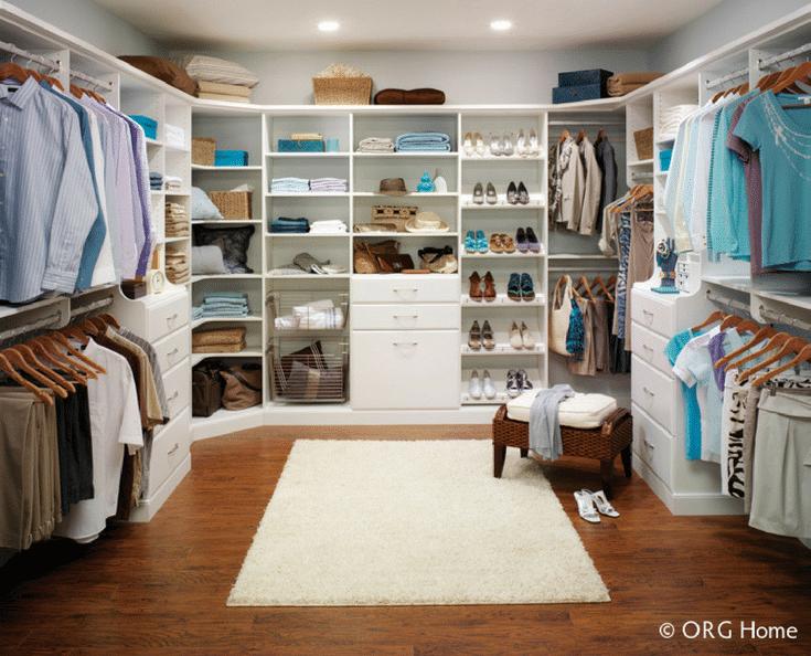 U Shaped His and Hers Walk In Closet | Innovate Home Org  | Dublin, Ohio #HisandHerCloset #WalkInCloset #ClosetStorage