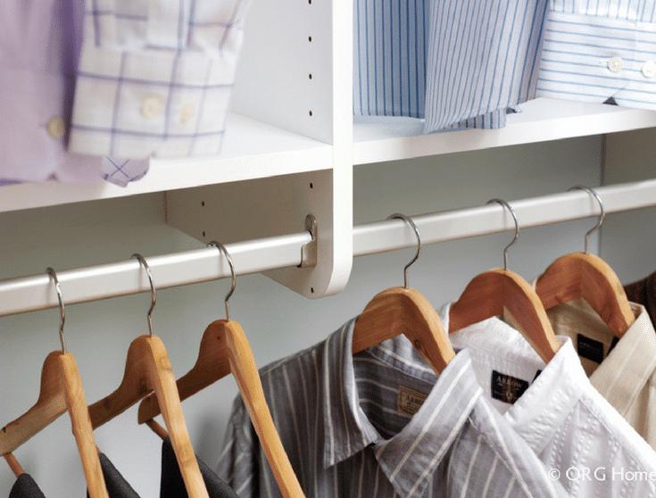 Walk In Closet With White Laminate Sections | Innovate Home Org | #UpperArlington #WhiteLaminate #WhiteCloset #HangingSystem