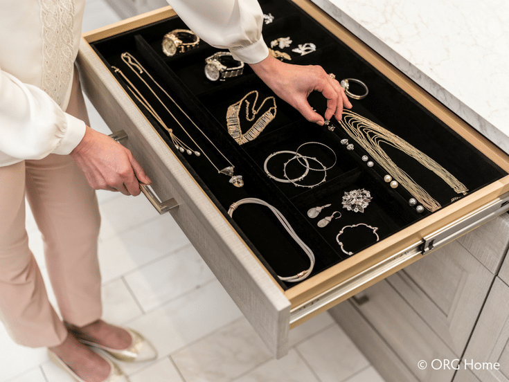 Jewelry Drawer Box in Closet | Innovate Home Org | #JewelryDrawer #JewelryStorage #ClosetColumbus