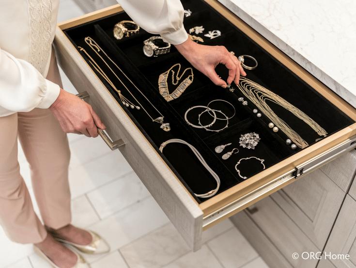 Jewelry Drawer Box in Closet | Innovate Home Org | #JewelryDrawer #JewelryStorage #ClosetColumbus