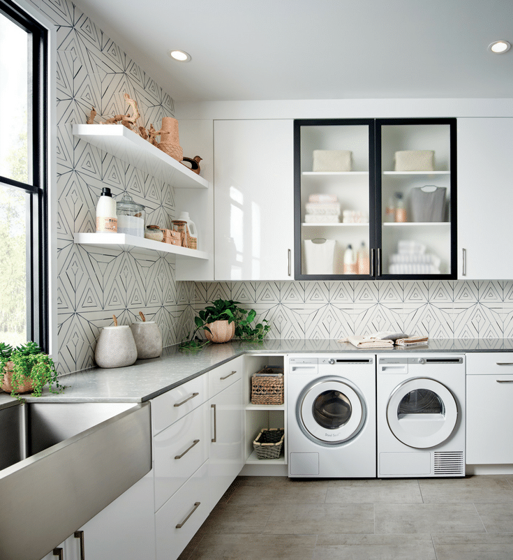 Mixing matte and gloss together | Innovate Home Org | #Columbus #LaundryRoom #StorageTrends