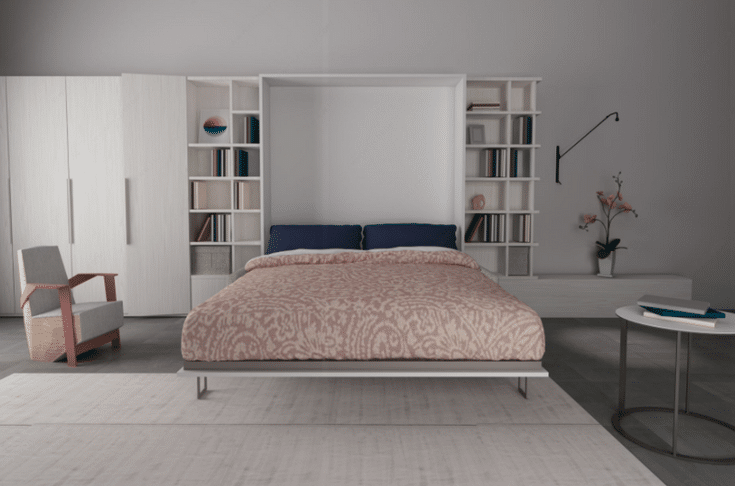 Murphy Bed Down in Living Room   Innovate Home Org   #MurphyBedStorage #BedStorage #LivingRoomStorage