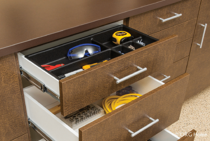 Garage Workbench Storage | Innovate Home Org | #GarageOrganization #Workbench #StorageSolutions