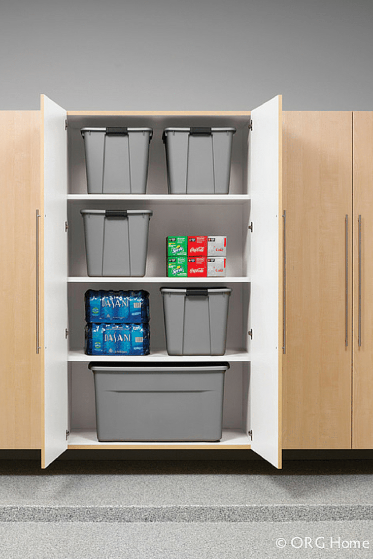 Recycling Bins in the Garage | Innovate Home Org | #UpperArlington #GarageStorage #Workbench #RecyclingBins