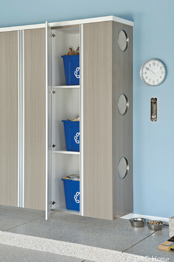 The recycling zone in the Garage   Innovate Home Org   #GarageZones #ClosetCabinets #RecyclingStorage