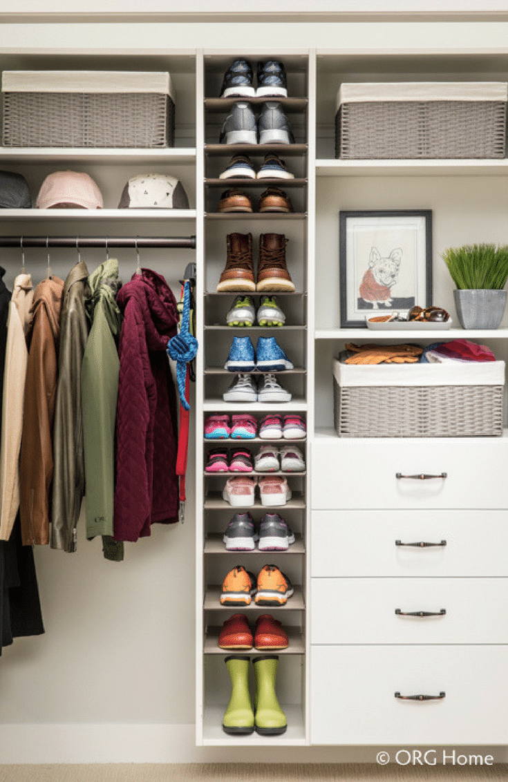Closet with a Shoe Shrine | Innovate Home Org  | #ClosetDesign #ShoeStorage #ShoeShrine