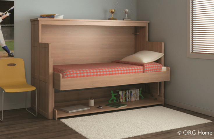 Murphy Bed Twin Sized Folded down | Innovate Home Org | #TwinSizeMurphyBed #MurphyBed #WallStorage