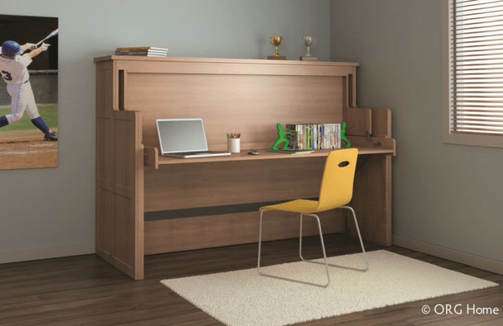 Murphy bed twin bed folded in desk | Innovate Home Org | #MurphyBed #DeskBed #TwinSizeBed