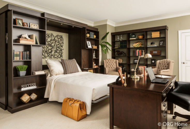 Storage around the murphy bed | Innovate Home Org | #StorageSpace #MurphyBed #StorageBed