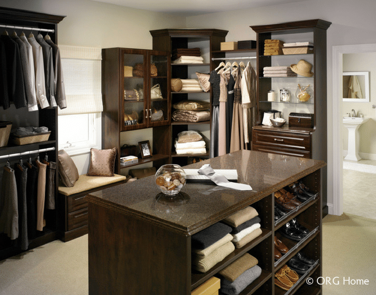 Textured Laminate for Fashionable Closet | Innovate Home Org  | #WalkInCloset #ClosetStorageSystem #ShelvingStorage