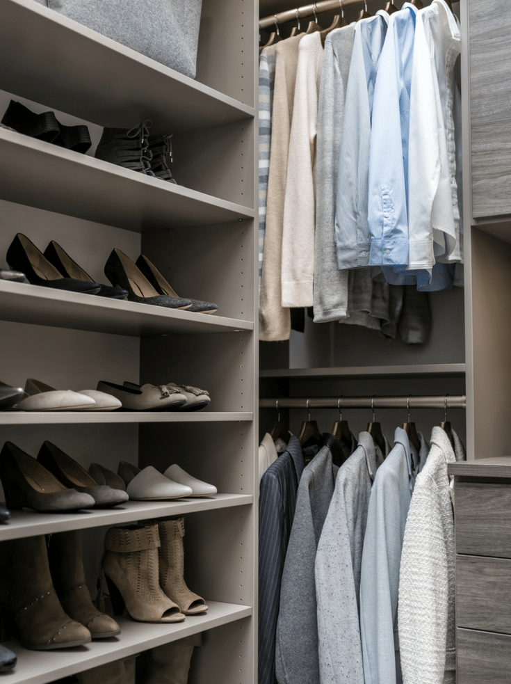 Double hanging in a Columbus closet | Innovate Home Org | Dublin, Ohio | #ClosetOrganization  #ClosetHangnigUnits #WalkInCloset #DoubleHanging #DreamCloset
