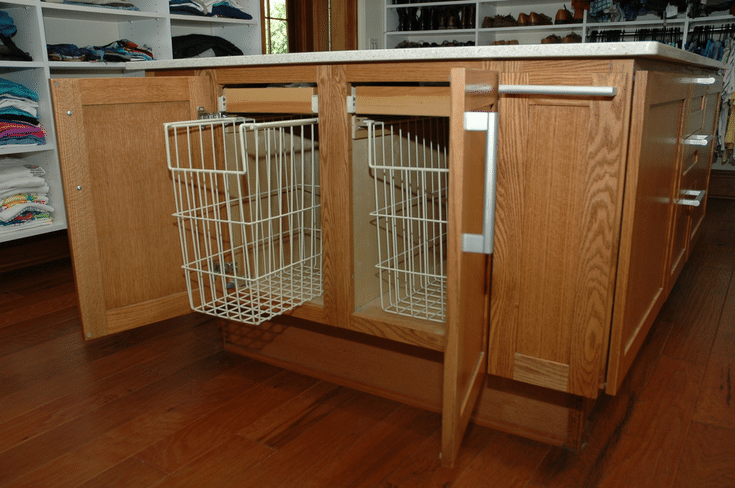 Pull Out Hamper in Accessible Closet | Innovate Home Org | Columbus, Ohio | #ClosetStorage #PulloutHampers #ClosetHamper