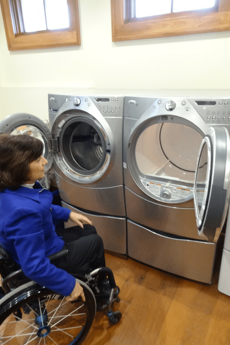 Washer and dryer hinging wheelchair accessible | Innovate Home Org | #LaundryStorag #WheelchairAccessible #WasherandDryer