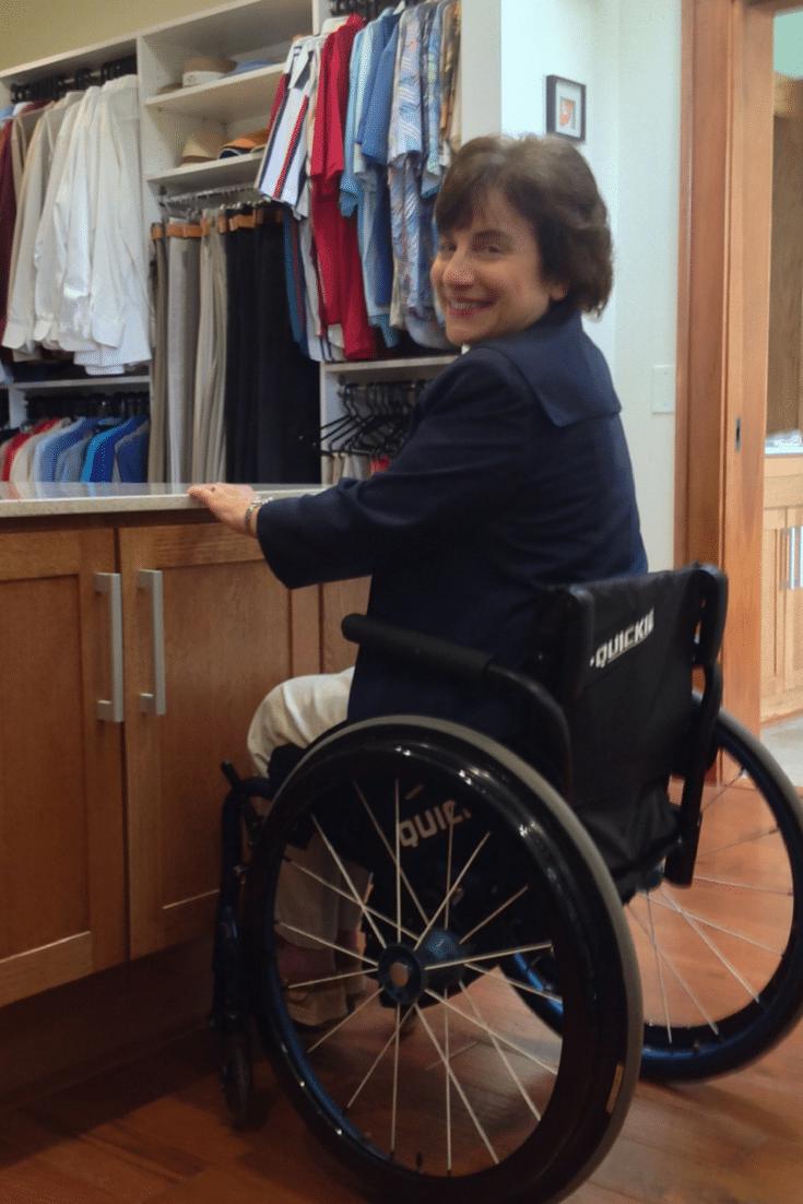 Wheelchair accessible closet | Innovate Home Org | Columbus, Ohio | #WheelchairCustomCloset #ClosetSystem #WallHangingCloset