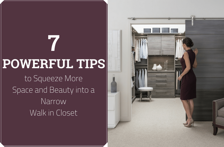 7 Powerful Tips to Squeeze more space and beauty into a narrow walk in closet | Innovate Home Org | #WalkInCloset #HangingSpace #TinyCloset