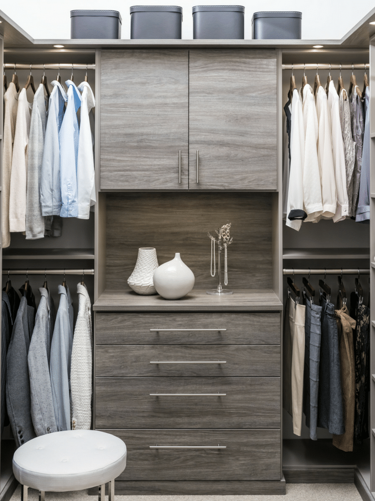 Drawers in a custom closet for an elegant touch | Innovate Home Org | #ClosetDrawers #WalkInCloset #StorageSolutions