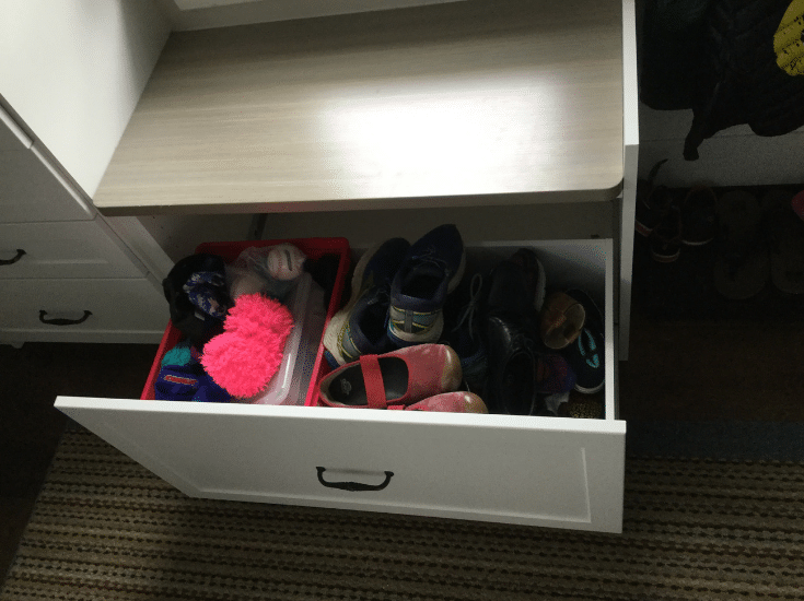 Mudroom Storage one large pull out drawer for shoe storage | Innovate Home Org | Columbus, Ohio  | #MudroomStorage #ShoeStorage #PullOutDrawer