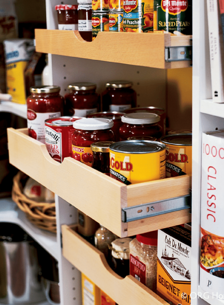 Pantry Storage Idea for canned goods | Innovate Home Org | #PantryStorage #StorageSolutions #ShelvingStorage #PullOutShelf