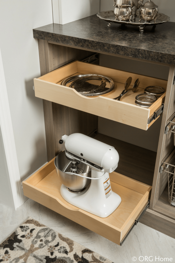 Pantry Storage pull out scoop drawers | Innovate Home Org | Columbus, Ohio | #PantryStorage #PullOutDrawers #ShelvingStorage
