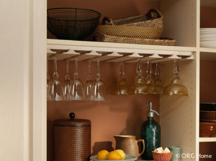 Pantry storage for wine glasses in a pantry | Innovate Home Org | Dublin, Ohio | #PantryStorage #WineGlassStorage #ShelvingStorage
