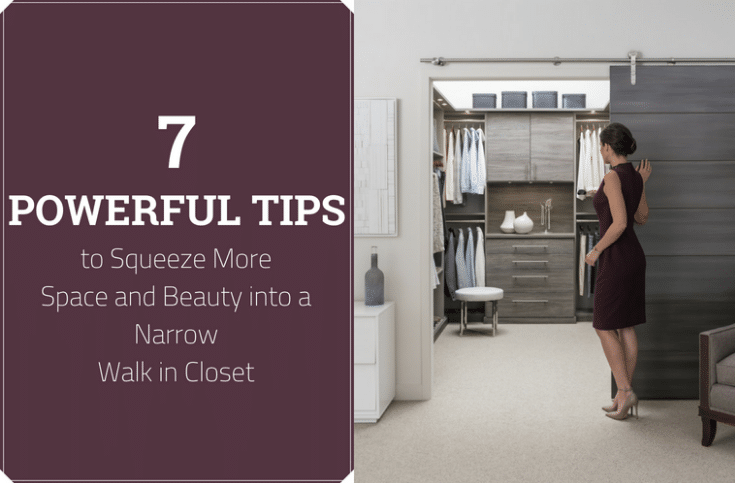 7 Powerful Tips to Squeeze more space and beauty into a narrow walk in closet | Innovate Home Org | #WalkInClosetStorage #ReachInCloset #ClosetOrganizationTips #OrganizationIdeas #DreamCloset