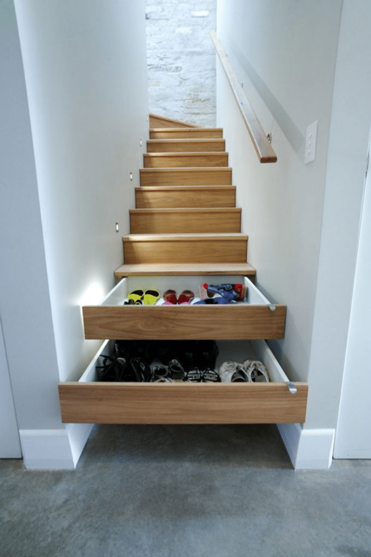 Clever Stair Shoe Storage Solution  | Innovate Home Org | Impressive Interior Design | #ShoeStorage #ShoeShelf #UniqueStorage