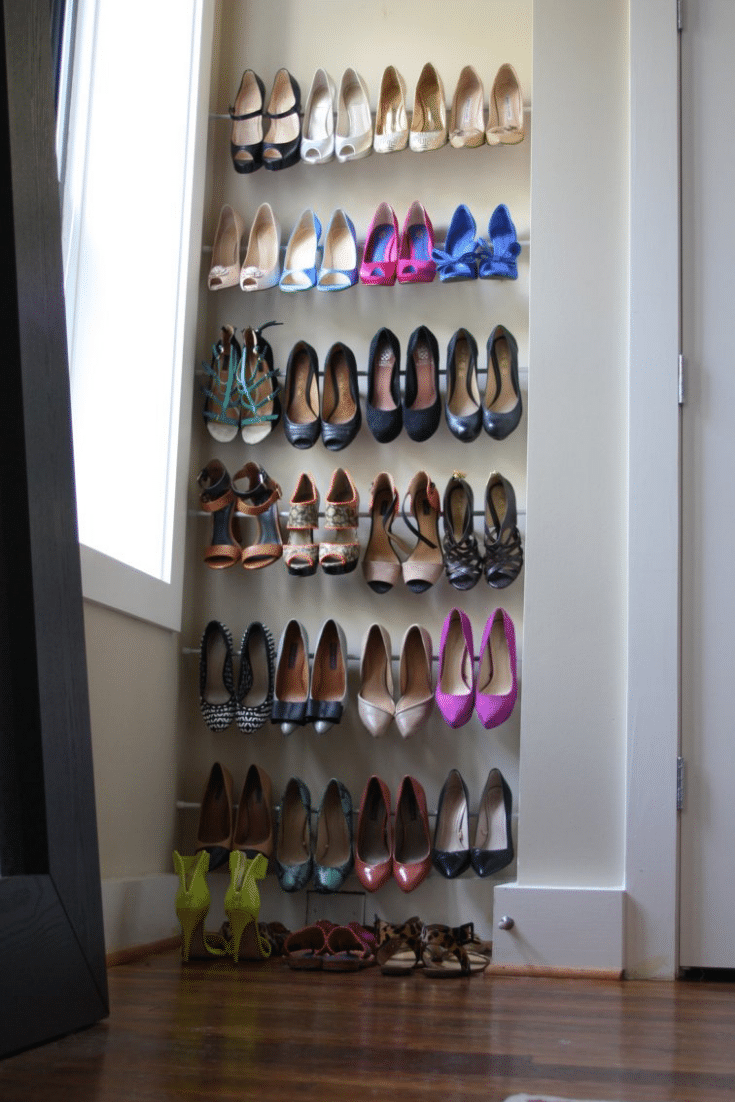 DIY Tension Rod Shoe Racks | A Loyal Love | Innovate Home Org | #DIYShoeRod #ShoeRacks #ClosetStorage