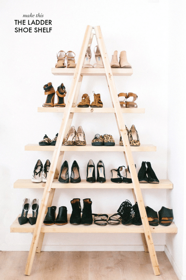 Shoe shoe ladder for closet | Innovate Home Org  |  #ClosetStorage #ShoeStorage #ShoeLadder
